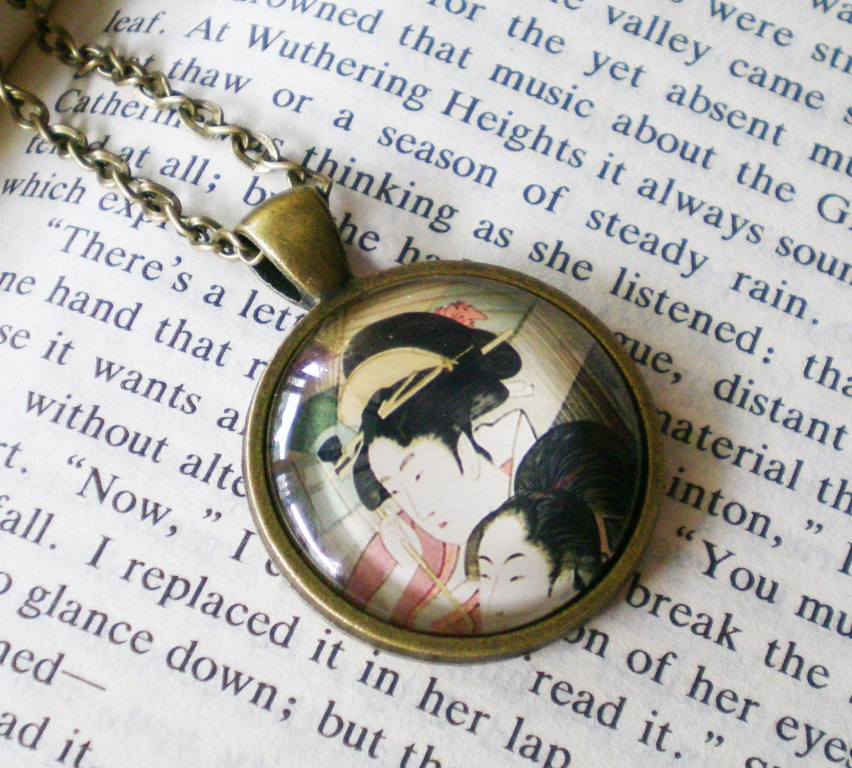 Japanese Ukiyoe Necklace, Japanese Girls, Japanese Style Pendant Necklace