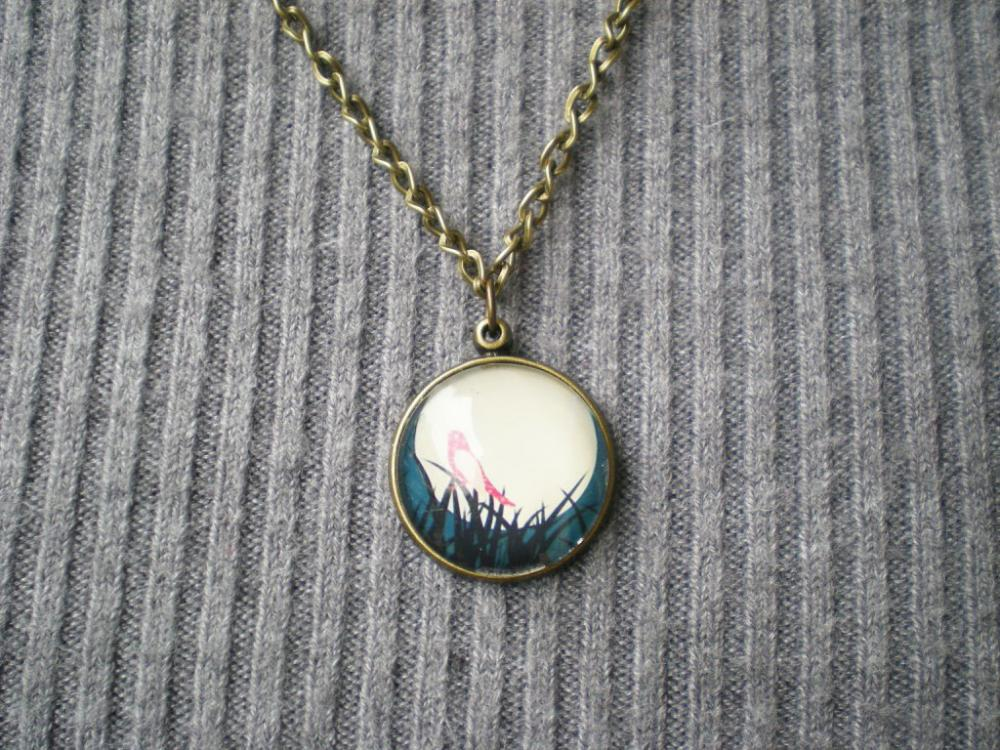 Bird & Moon Necklace, Graphic Pendant with Cabochon, Handmade