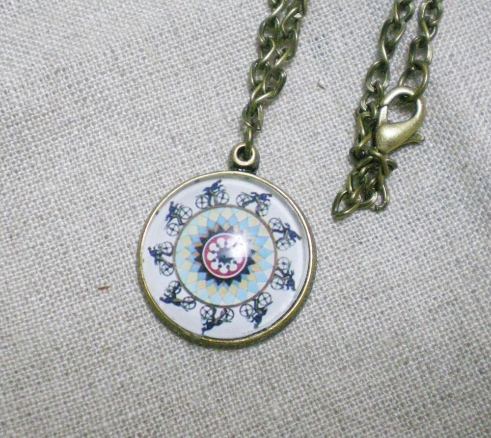 Glass Pendant Necklace, Phenakistoscope Biker, Retro Necklace handmade with Domed Glass Charm