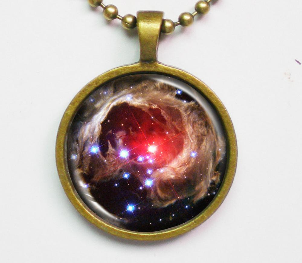 Galaxy Photo Necklace - Variable Star V838 Monocerotis - Galaxy Series