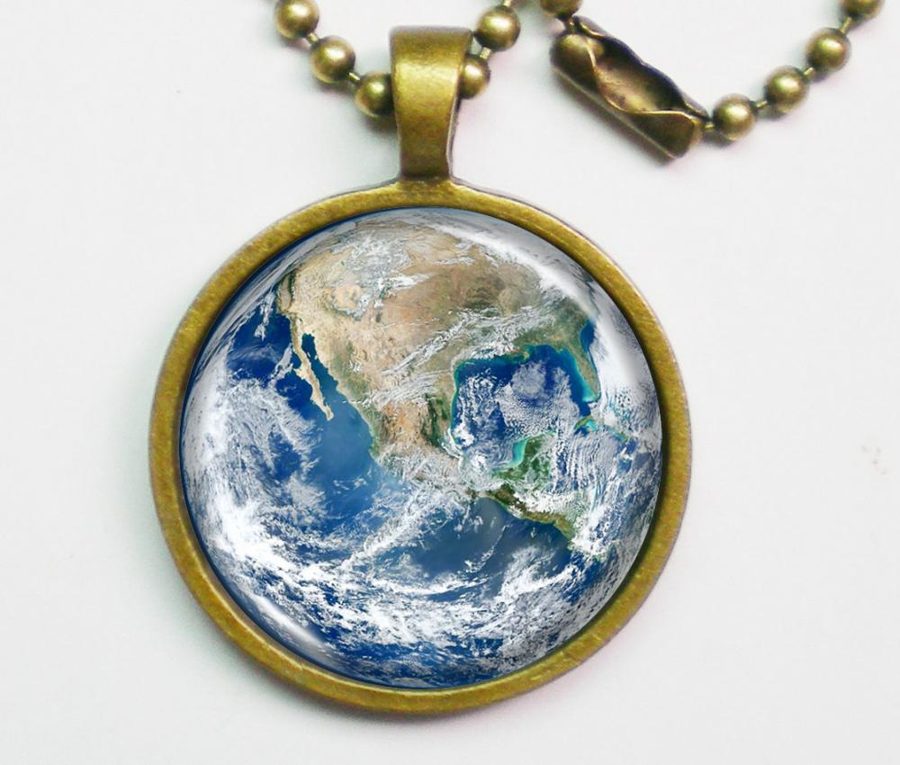 Planet Necklace - The Earth - Blue Marble Earth - Galaxy Series