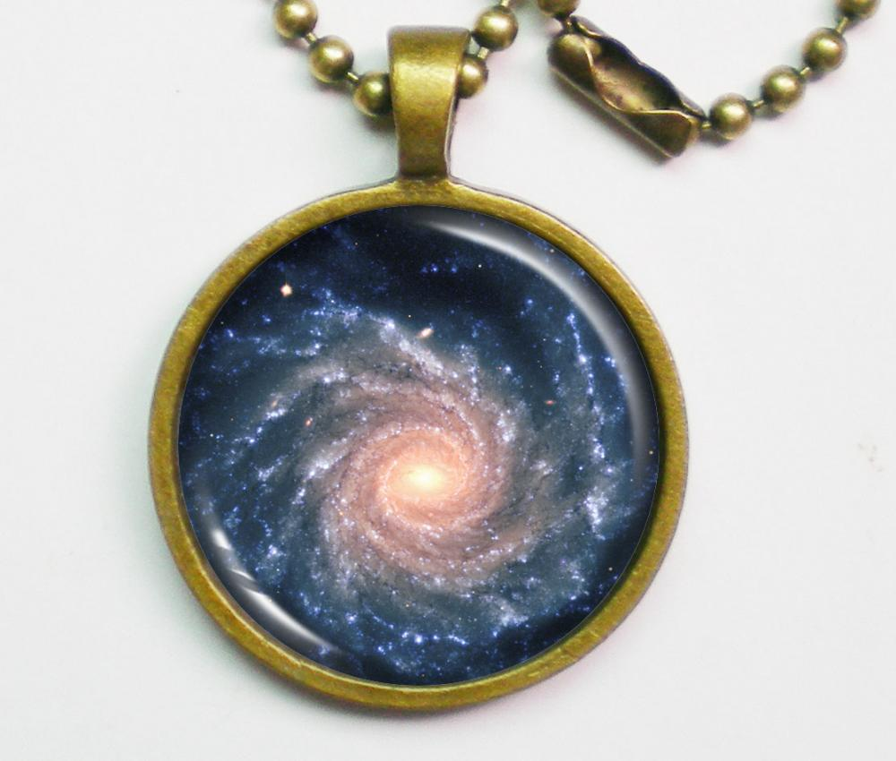 Spiral Galaxy Necklace - Grand Spiral Galaxy NGC 1232 - Galaxy Series