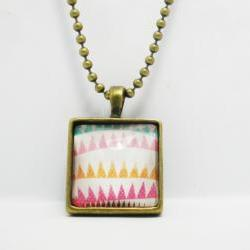 Square Charm Necklace, Colorful Flags, Antiqued Brass Necklaces with Glass Cabochon
