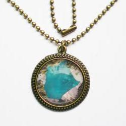 Geographic Map Necklace, Volcano Mount Pinatubo, Custom Map Jewelry