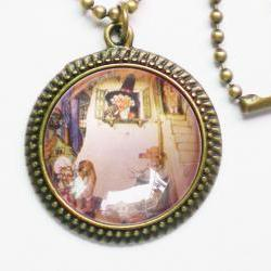 Vintage Nursery Image Necklace, Mother Goose, Retro Photo, Kids Accessory