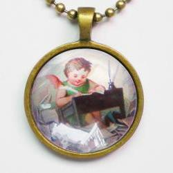 Angel Illustration Necklace, Vintage Angel Picture, Baby Angel Writing Letters